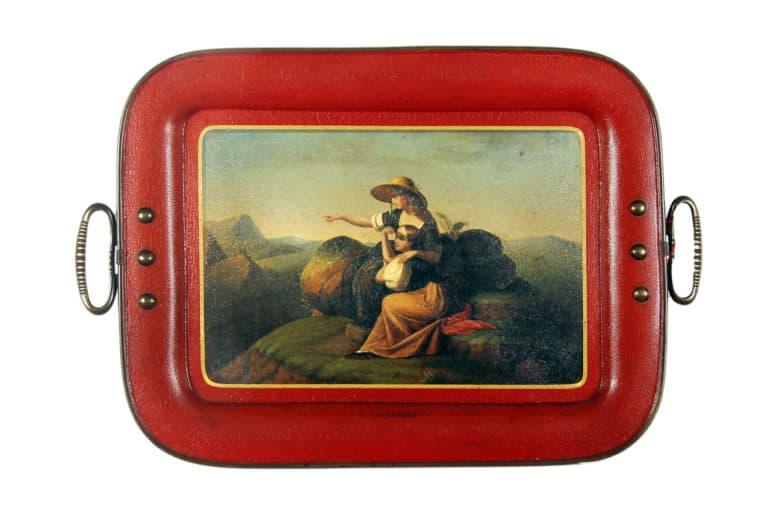 Lacktablett mit Bildmotiv Zwei Mädchen auf dem Berge, 19. Jh.
